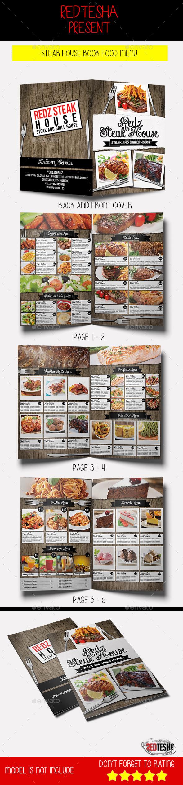 Steak House Book Food Menu
