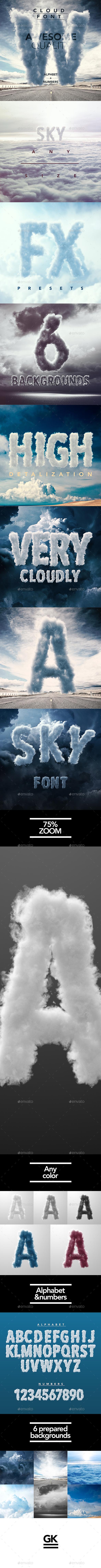 3D Sky / Cloud font mock up - Miscellaneous Product Mock-Ups