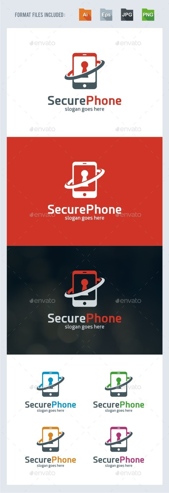 Secure Phone - Symbols Logo Templates