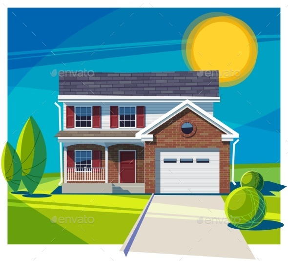 House Fasade with Garage. Vector Illustration - Miscellaneous Vectors