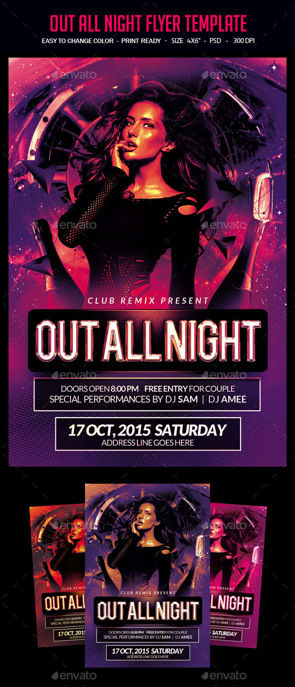 Out All Night Flyer Template - Clubs & Parties Events