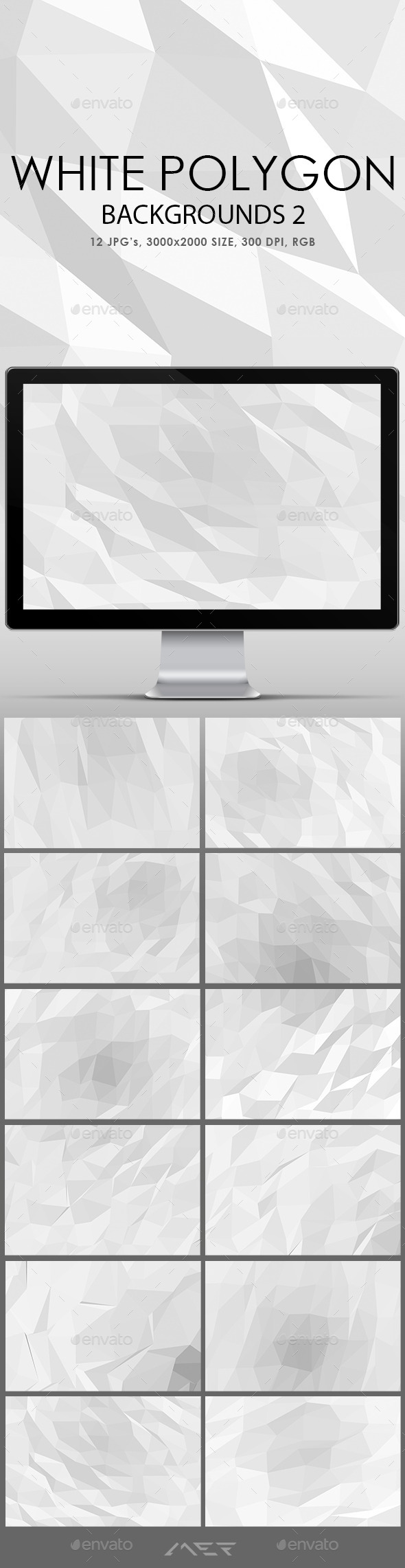 White Polygonal Backgrounds 2 - Abstract Backgrounds