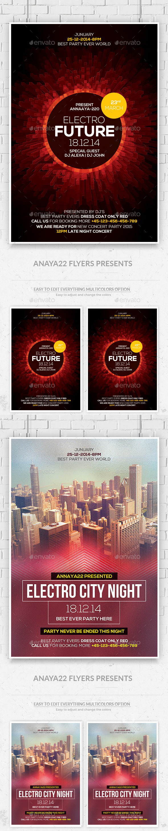 Futuristic Flyer Psd Bundle - Clubs & Parties Events
