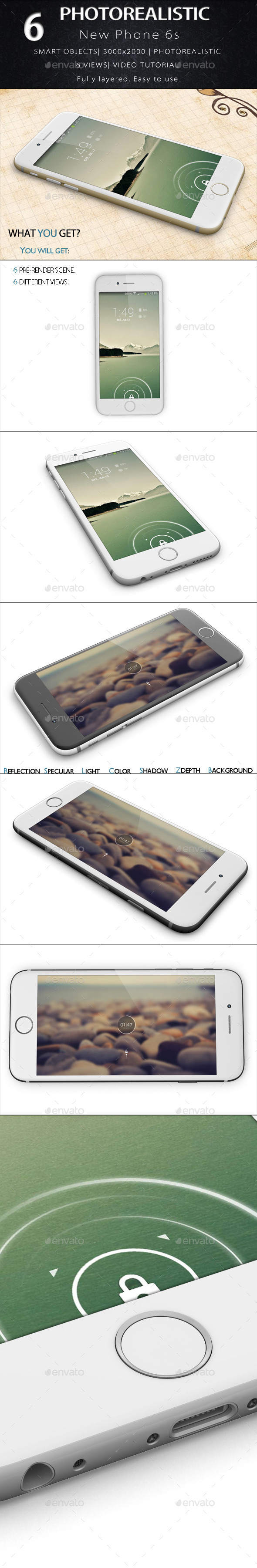 New Phone 6s Mock Up - Product Mock-Ups Graphics
