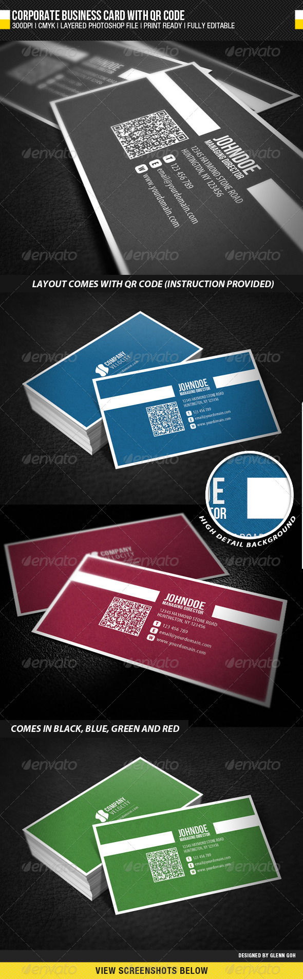 Corporate Business Card with QR Code - Creative Business Cards