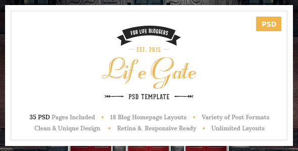 Lifegate – Vintage Personal Blog PSD Template