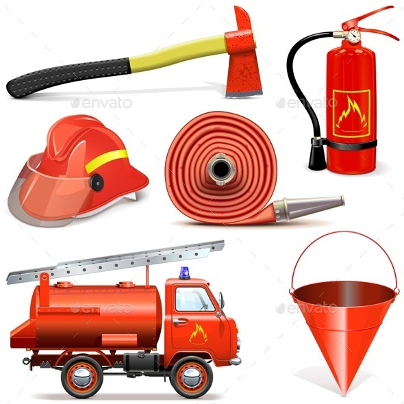 Vector Fire Prevention Icons - Industries Business