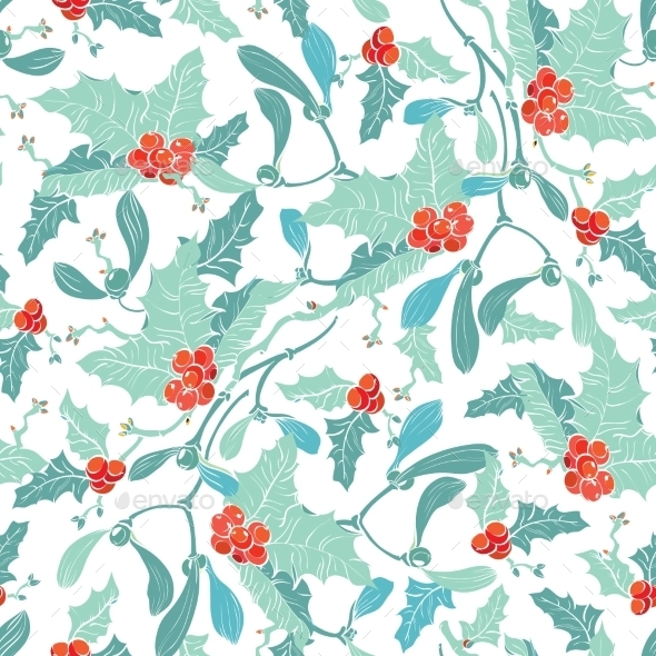Vector Mistletoe Holly Berries Blue Red Seamless - Christmas Seasons/Holidays