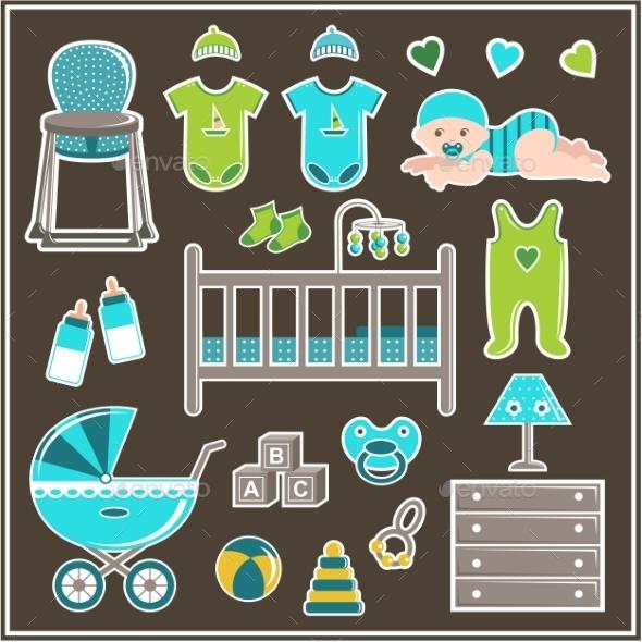 Set For a Little Boy - Decorative Symbols Decorative