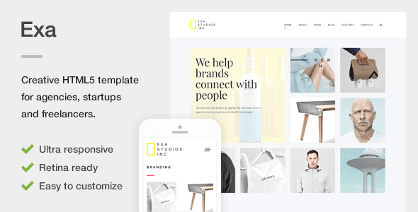 Exa – A Fresh & Creative Portfolio HTML5 Template