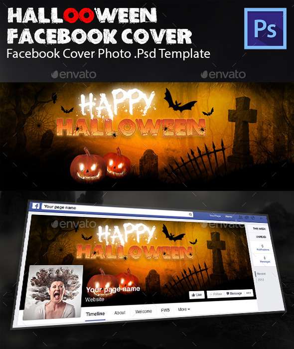 Halloween Facebook Cover Template - Facebook Timeline Covers Social Media