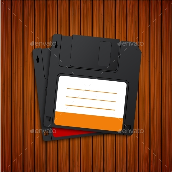 Vector Modern Diskette On Wooden Background - Computers Technology