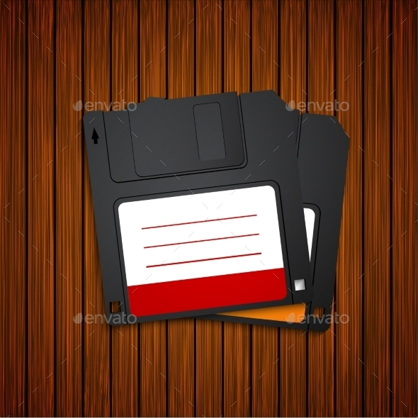 Vector Modern Diskette On Wooden Background. - Computers Technology