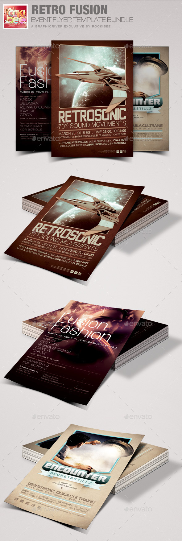 Retro Fusion Event Flyer Template Bundle