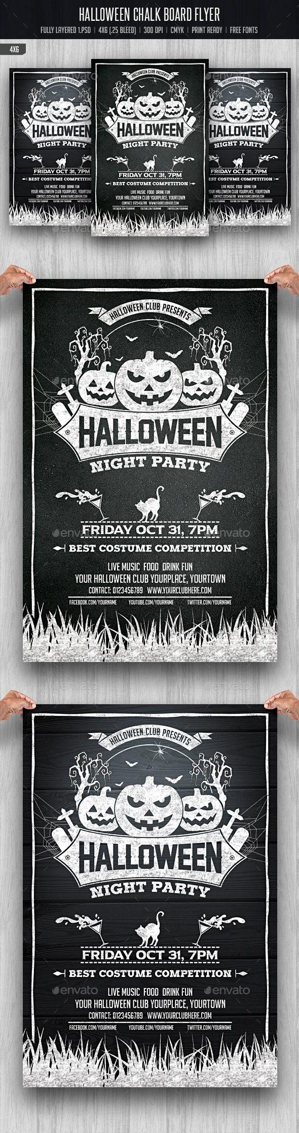 Halloween Chalkboard Flyer - Events Flyers