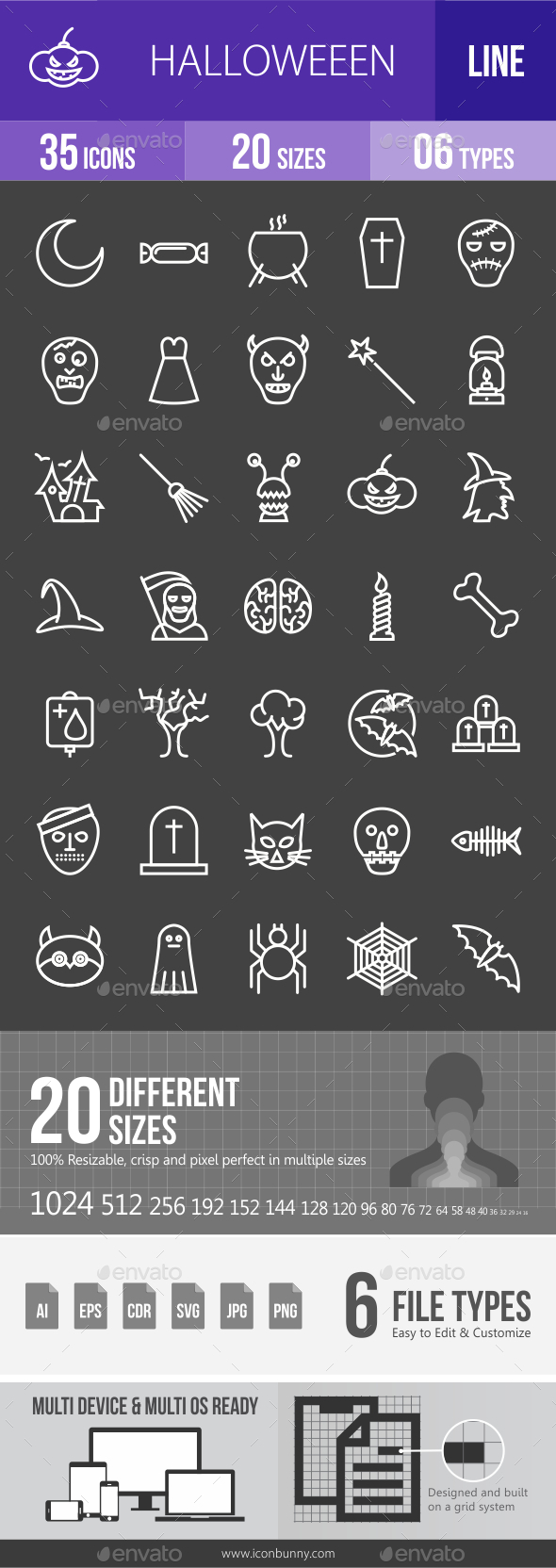 Halloween Line Inverted Icons