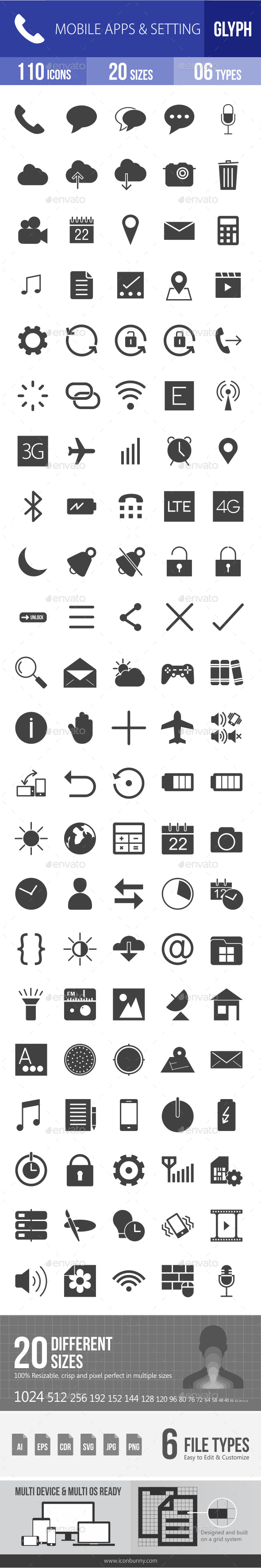 Mobile Apps & Settings Glyph Icons