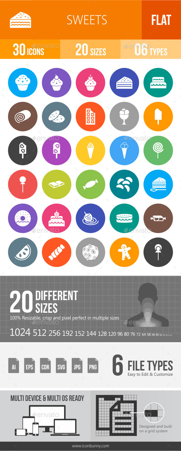 Sweets Flat Round Icons - Icons