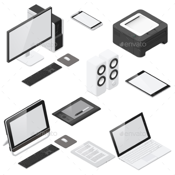 Computer and Office Devices Detailed Isometric