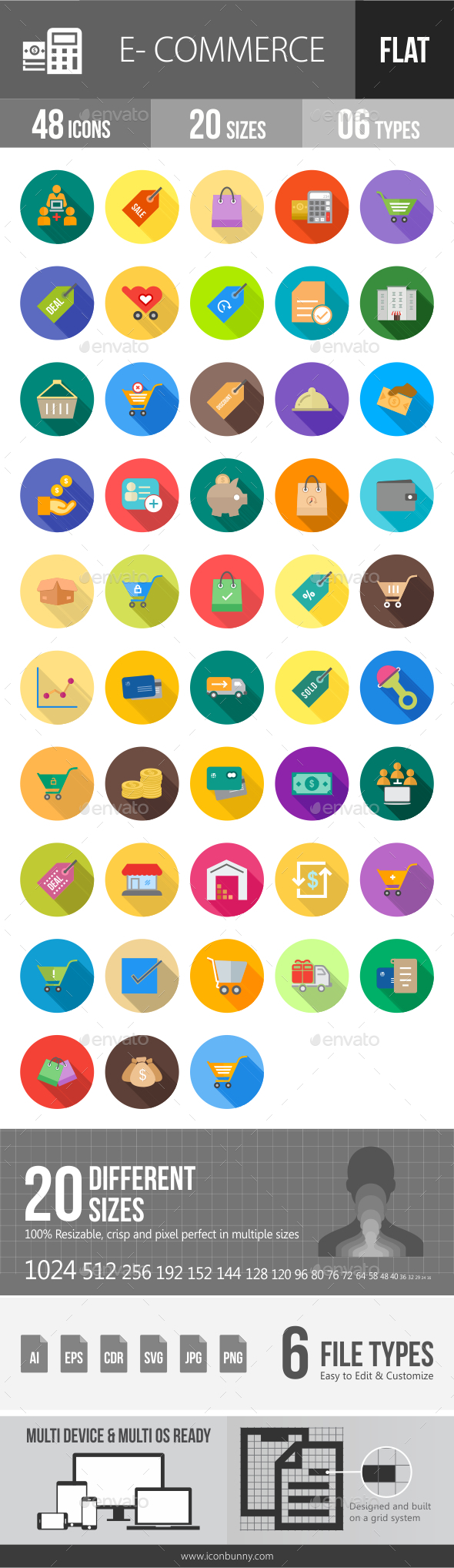Ecommerce Flat Shadowed Icons