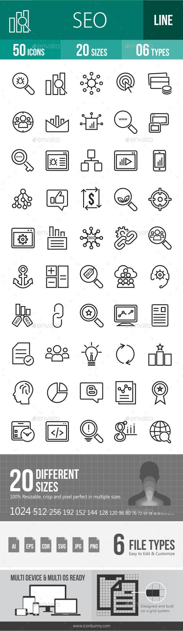 SEO Line Icons - Icons