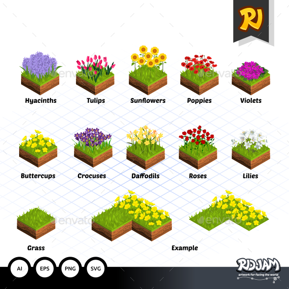 Set of Isometric Tiles Flowers - Tilesets Game Assets