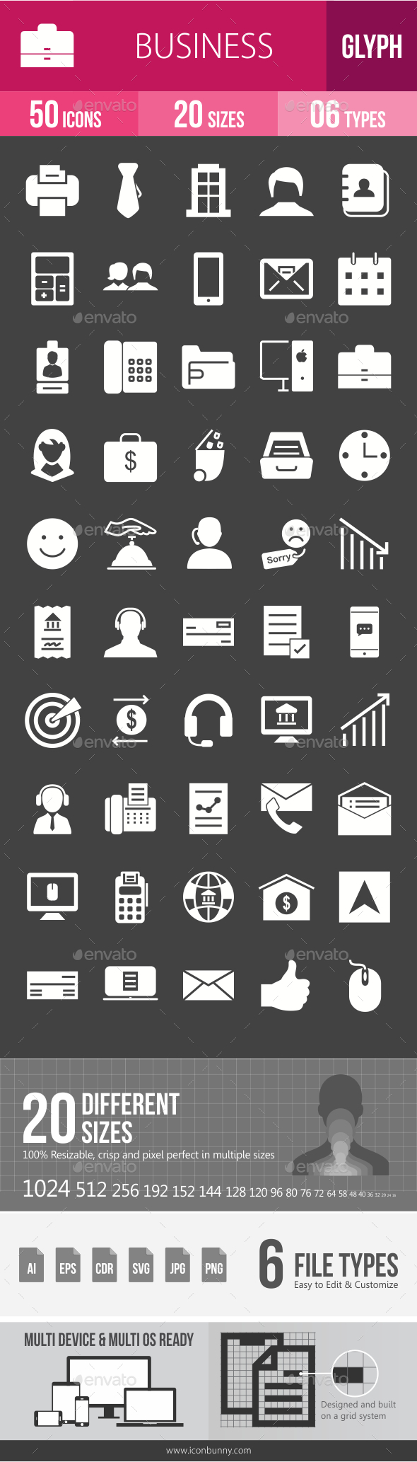 Business Glyph Inverted Icons - Icons