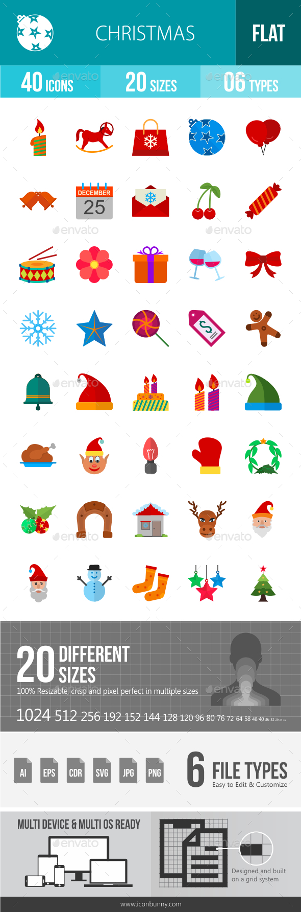 Christmas Flat Multicolor Icons - Icons