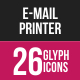 Email & Printer - Technology Glyph Inverted Icons