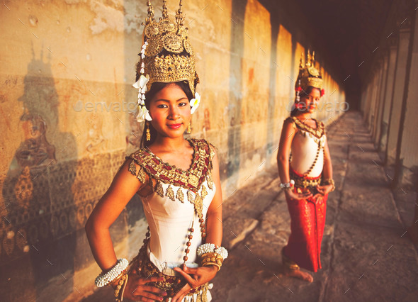 Traditional Aspara Dancers Siem Reap Cambodia Concept - Stock Photo - Images