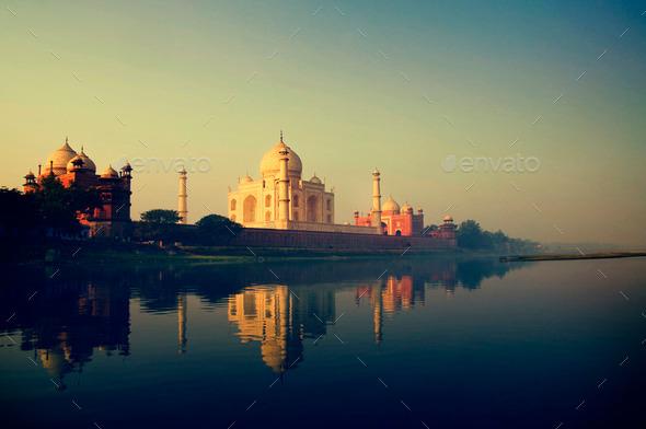 Taj Mahal Memorial Travel Destination 7 Wonders Concept - Stock Photo - Images
