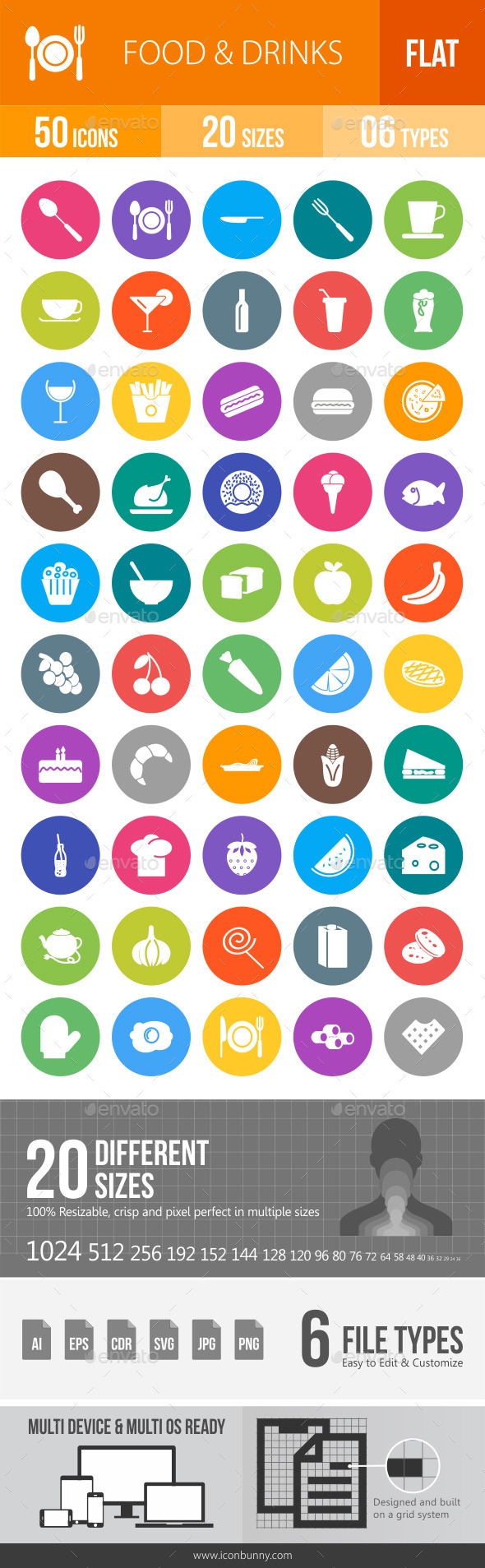 Food & Drinks Flat Round Icons - Icons