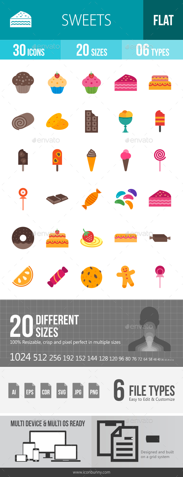 Sweets Flat Multicolor Icons - Icons