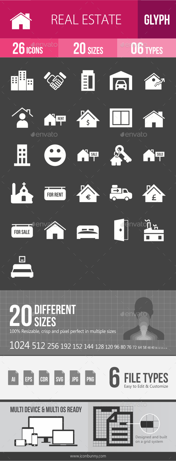 Real Estate Glyph Inverted Icons