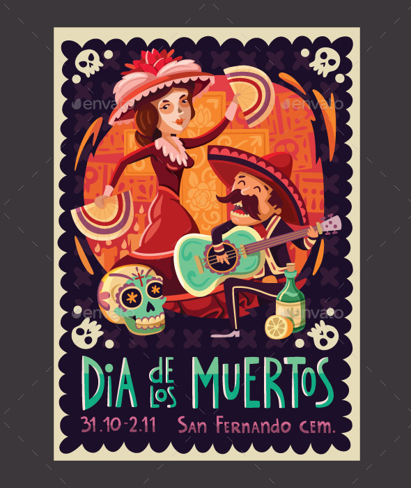 Invitation to the Day of the Dead Party - Miscellaneous Seasons/Holidays