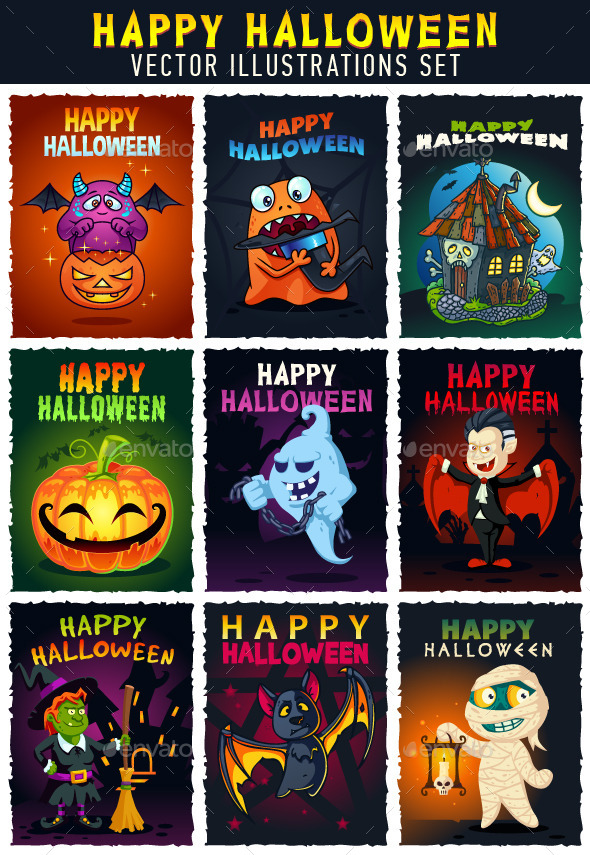 Happy Halloween Illustrations Set
