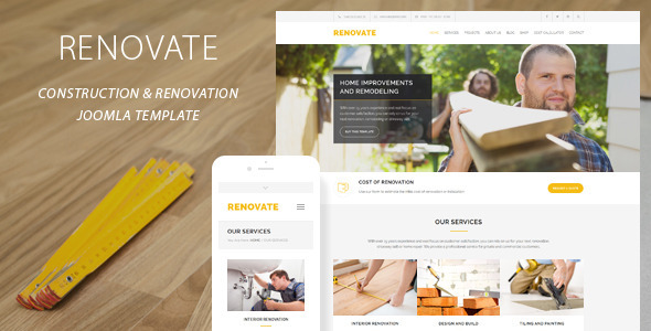 Renovate | Construction Renovation Joomla Template - Business Corporate
