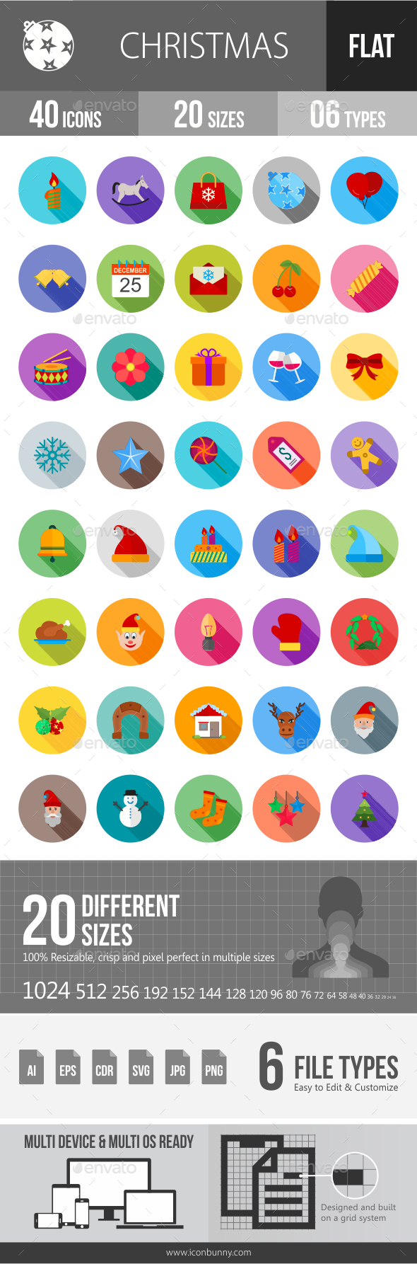 Christmas Flat Shadowed Icons