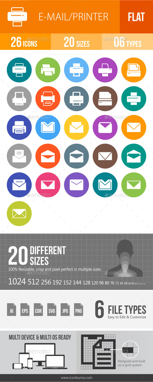 Email & Printer Technology Flat Round Icons
