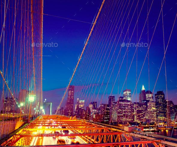 Famous Place Brooklyn Bridge Downtown District Concept - Stock Photo - Images