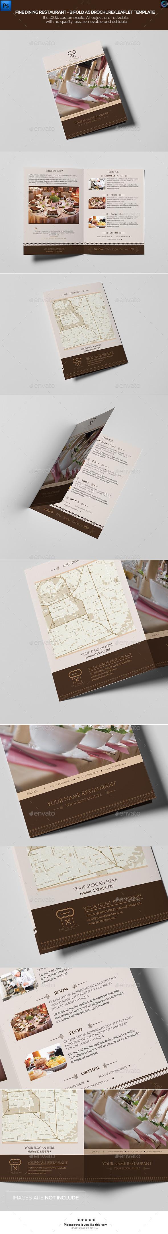 Fine Dining Restaurant-Bifold A5 Brochure Template - Informational Brochures