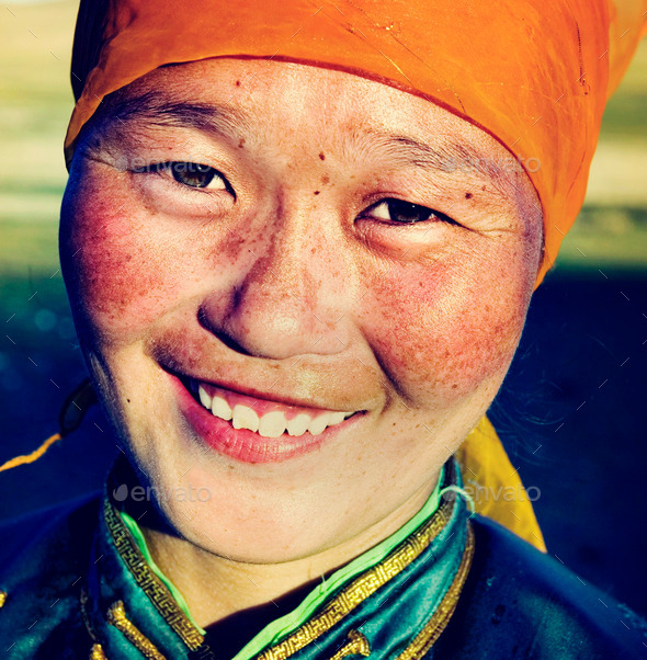 Mongolian Woman Traditional Dress Smiling Happiness Concept - Stock Photo - Images
