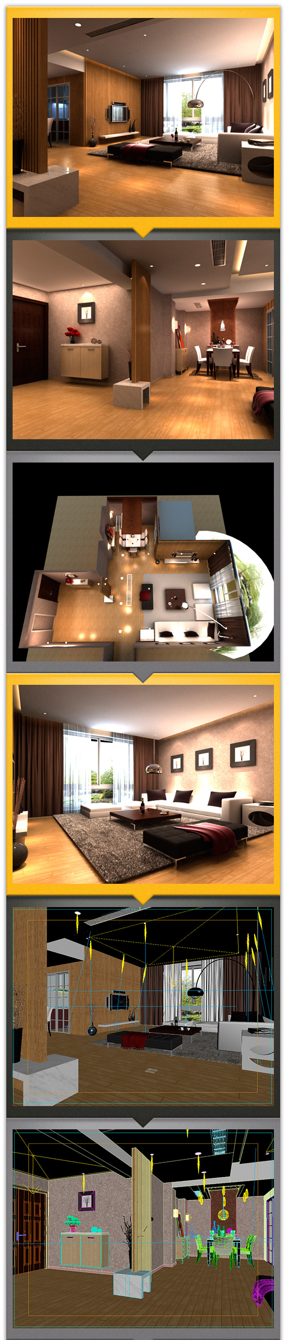 Modern interiors with living room and dining room - 3DOcean Item for Sale