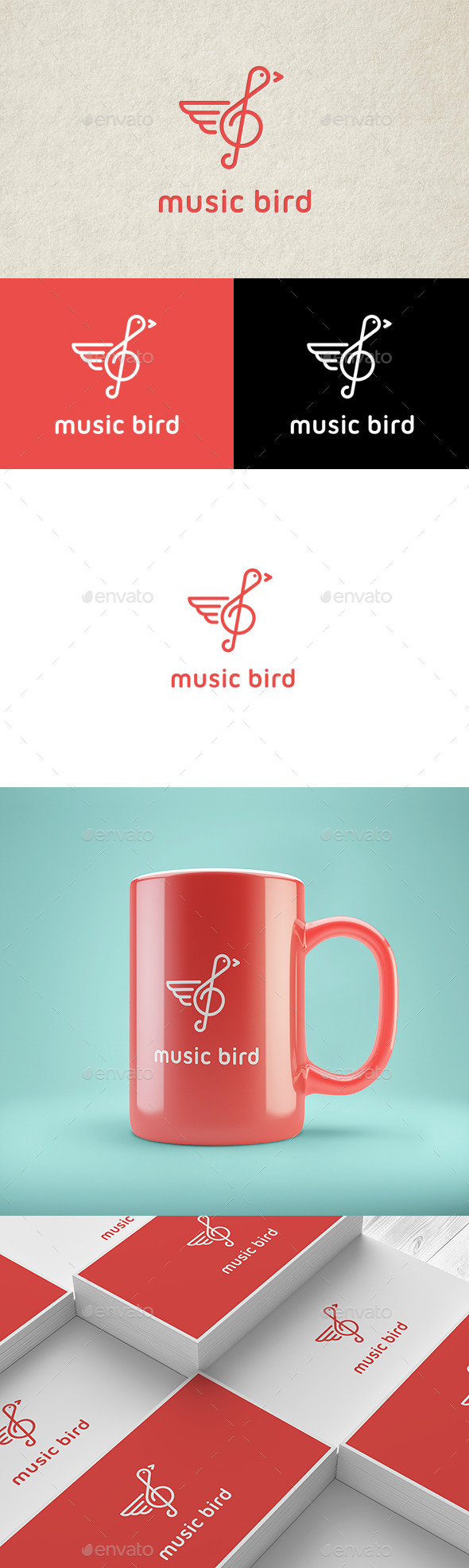 Music Bird Logo - Animals Logo Templates