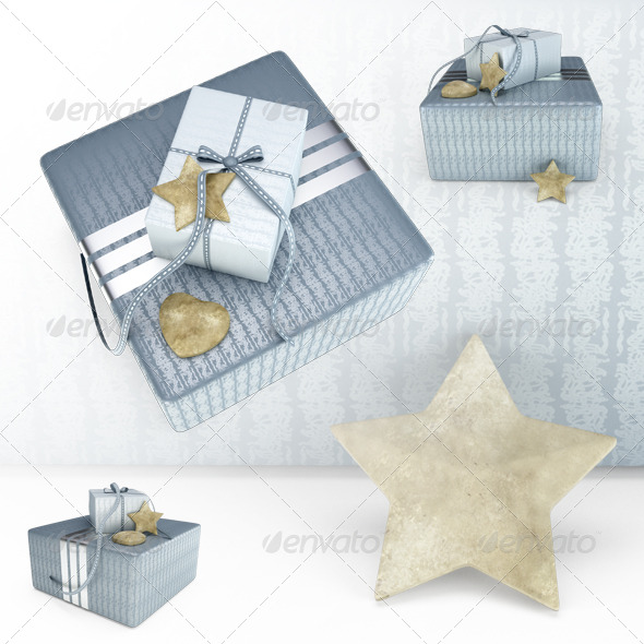 Grey Present Box 3D Illustration - Objects 3D Renders