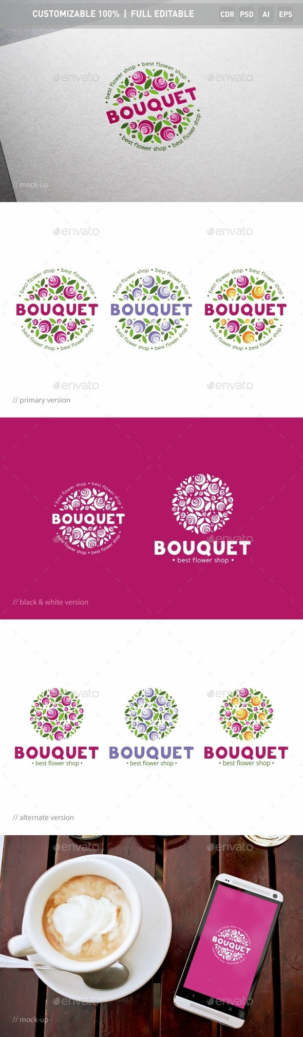 Bouquet of Flowers Logo Template - Nature Logo Templates