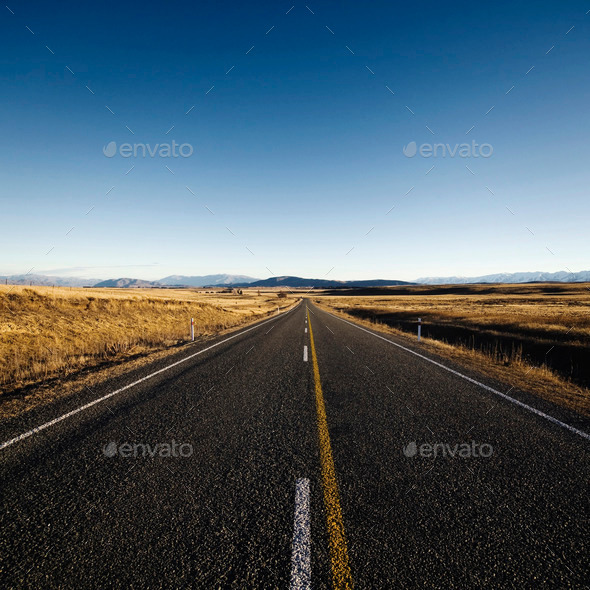 Autumn Highway Country Road Mountain Range Concept - Stock Photo - Images