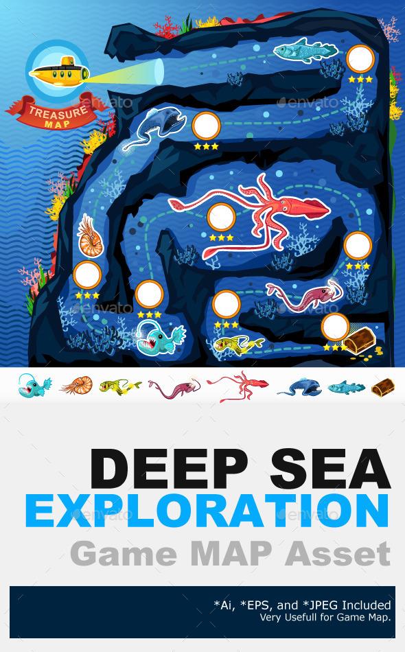Deep Sea Exploration Treasure Game Map - Animals Characters