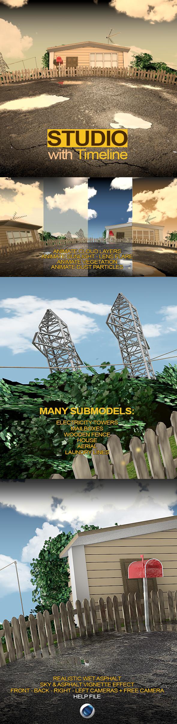 C4D Suburb Render Setup - 3DOcean Item for Sale