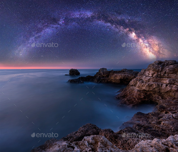 Milky Way over the sea - Stock Photo - Images